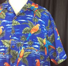 Hilo-Hattie-Parrots-Blue-Surf-Island-Palm-Trees-Fronds-5XL-Hawaiian-Shirt-Aloha
