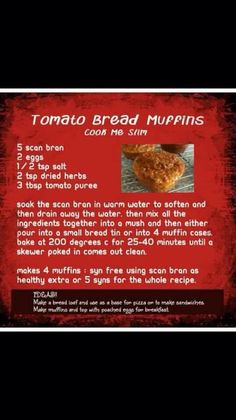 Scan Bran Tomatoe and Herb bread I used basil instead of mixed herbs and drained with salt and pepper Add a teaspoon of marmite Slimming World Tips, Slimming World Snacks, Slimming World Breakfast, Slimming World Recipes, Tomato Bread, Herb Bread, Slow Cooker Recipes, Cooking Recipes, Healthy Recipes