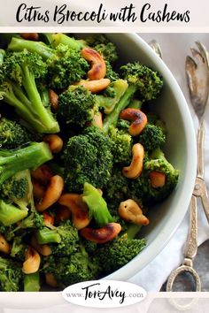 Citrus Broccoli with Cashews - Lightly steamed broccoli and pan-roasted cashews tossed in a luscious sauce with coconut aminos, orange juice, dates, fresh ginger, garlic and cayenne. Easy vegan gluten free side dish, Kosher for Passover. | ToriAvey.com #broccoli #cashews #vegan #glutenfree #coconutaminos #orange #dates #ginger #garlic #cayenne #passover #kosher #kosherforpassover #sidedish #eatyourveggies #healthy #cleaneating #tasty  via @toriavey