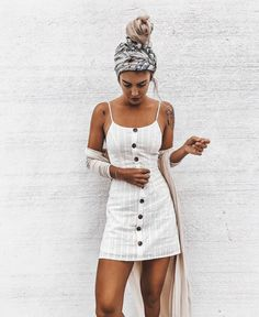 button down front dress with oversized headband thin beige cardigan summer fashion