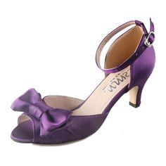 Online Shop Creativesugar Handmade dark deep purple eggplant satin lady  bridal wedding party low heels big bow ankle strap open toe shoes 566cec3de41a