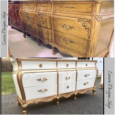 I turned this old beat up and broken drawer dresser and turned it into a beauty! French Provincial Dressers Gold Dip Dressers Furniture Makeover Shabby Chic Painted Dressers White and Gold Furniture Antique Furniture DIY Hollywood Regency www. Gold Furniture, Dresser Furniture, Distressed Furniture, Refurbished Furniture, Paint Furniture, Upcycled Furniture, Shabby Chic Furniture, Furniture Makeover, Vintage Furniture