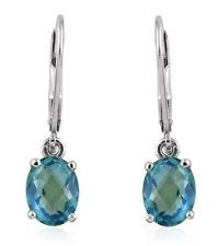 Peacock Quartz Platinum Over Sterling Silver Lever Back Earrings TGW 1.370 Cts.