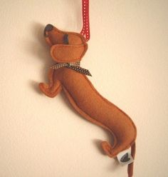 Barbeque the Dachshund Weiner Dog Wool Felt Applique Decorative Holiday Christmas Ornament