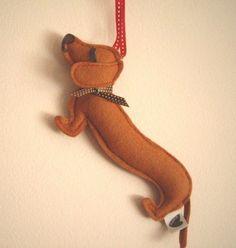 Barbeque the Dachshund Weiner Dog Wool Felt Applique Decorative Holiday Christmas Ornament via Etsy