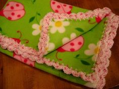 Baby Blanket With Crochet Pink Shell Ruffle - Bright Lime Green With Pink Ladybugs - Baby Girl. $32.00, via Etsy.