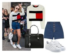 """""""Gigi hadid style steal"""" by tinakini ❤ liked on Polyvore featuring Tommy Hilfiger, rag & bone, Alexander McQueen and adidas Originals"""