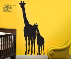 Large Mom and Baby Giraffe wall decal for nursery,children bedroom, Kids Bedroom jungle/safari theme. Removable Vinyl Wall Art - d532