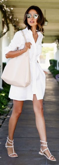White Sandals - Nude Tote - White Shirt Dress by Vivaluxury