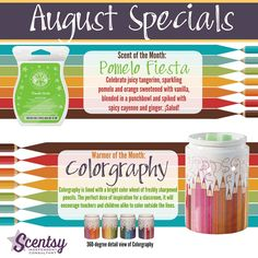 Pomelo Fiesta Scentsy Scent of the Month and Colorgraphy Scentsy Warmer of the Month August 2015.  Perfect gift to give teachers for back to school, or for the artist in your life.  Even cute in an office!  Buy online at https://sattler.scentsy.us