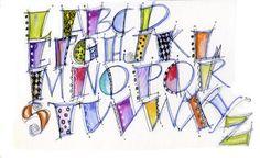Art du Jour by Martha Lever: Doodle Day Alphabet Hand Lettering Styles, Hand Lettering Alphabet, Graffiti Alphabet, Alphabet Art, Creative Lettering, Letter Art, Tattoo Alphabet, Doodle Alphabet, Doodle Fonts