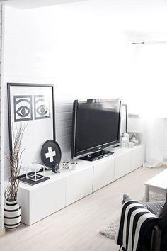Decoração escandinava sala preto e branco