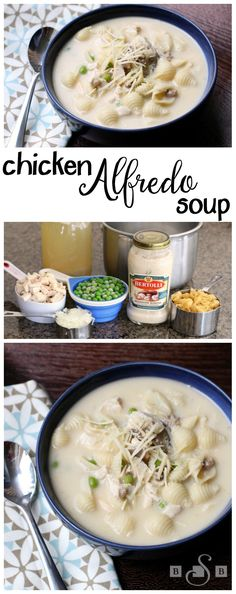 Chicken Alfredo Soup - Butter With A Side of Bread: Try something new for dinner with this easy recipe! #AD
