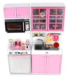 """'Modern Kitchen 16' Battery Operated Toy Kitchen Playset, Perfect for Use with 11-12"""" Tall Dolls Doll Playsets http://www.amazon.com/dp/B00LNG6ZIQ/ref=cm_sw_r_pi_dp_xLrwwb007HT86"""