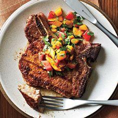 Pork Chops with Caribbean Rub and Mango Salsa   CookingLight.com