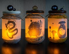 Anime Crafts, Otaku Room, Studio Ghibli Art, Paper Plants, Mason Jar Lamp, Diy And Crafts, Centerpieces, Decoration, Batcave
