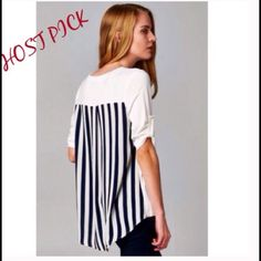 """5⭐️ RATED BUTTERY SOFT TOP - SMALL Super cute top in White with beautiful black stripped detailing in back, roll up sleeves, and a front pocket. This top is buttery soft, and an amazing quality.  Top has a lot of stretch. 95% Rayon; 5% Spandex.  Measurements lying flat are: Small -Bust 18""""; Front length 24""""; back length 28"""".   A must-have wardrobe staple. Runs true to size. MADE IN USA 🇺🇸. THIS LISTING IS FOR A SMALL, AND AVAILABLE TO PURCHASE. Boutique Tops"""