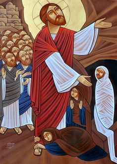 Raising of Lazarus (coptic) Christian Paintings, Christian Art, Religious Icons, Religious Art, Christ The Good Shepherd, Raising Of Lazarus, Church Icon, Images Of Christ, Christ The King