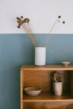Farrow & Ball - Stone Blue - Half painted walls