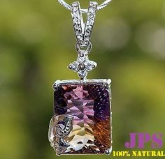 HUGE 13.00 cts EM 16X12mm AMETRINE & WHITE SAPPHIRE PENDANT SOLID 925SS NR  RETAIL PRICE WORTH OVER $1050.00 + GEM REPORT