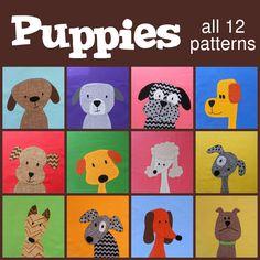 Puppy appliqué quilt design