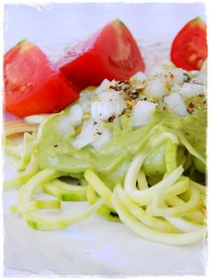 Zucchini Pasta with Avo Sauce ... recipe from Raw on $ 10 a Day (or Less!)