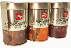 illy MonoArabica Whole Bean Trio 7881 7882 7883 -- Details can be found by clicking on the image.