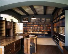 Eliel Saarinen's studio, designed and built in the at the Villa Hvittärsk in Kirkkonummi, Finland So.this is one look.very professional Architecture Details, Interior Architecture, Interior Design, Great Works Of Art, Dream Library, Bookcase Shelves, Industrial House, Book Nooks, Villa