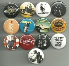 Rather large set (13 pins), featuring Bruce Springsteen. All pins are 1.5 inches in diameter. All major credit cards as well as Paypal accepted. All pin orders ship for free.