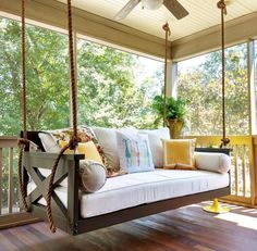 Not your average porch swing! Our swing beds are hand-built, unique and customiz… Not your average porch swing! Our swing Chill Lounge, Home Design, Interior Design, Design Ideas, Building A Porch, House With Porch, Porch Decorating, Decorating Ideas, Outdoor Living