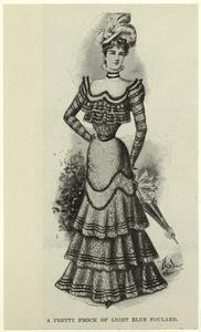 A pretty frock of light blue foulard. (1898)  Illustrated London News