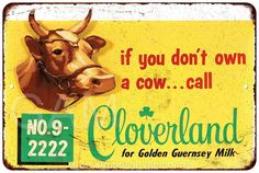 "Cloverland Dairy ""If You Don't Own A Cow"" metal sign"
