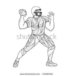 Zentangle inspired and tangled mandala illustration of an American football quarterback in throwing motion action viewed from side on isolated background in black and white.  #americanfoodball #zentangle #illustration