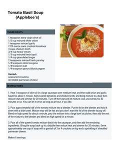 Applebees: Tomato Basil Soup