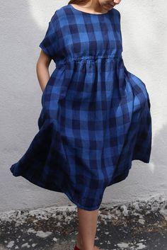 Apuntob Indigo Check Drawstring Dress