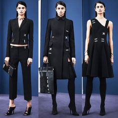 Versace Pre-Fall 2015. Versace works all the angles this season, with optical patterns and bold X's and dashes. Silver jewelry is all about X's and bars, shown on collars, earrings, rings and bracelets. Shoes and bags and even apparel follow suit. When it comes to color, it's all about cobalt blue accenting black in tonal kaleidoscope patterns.