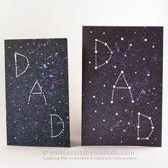 Your dad is definitely out of this world, so give him his very own constellation with this fun galaxy themed Father's Day Card. I will show you how to achieve this look! Head over to my tutorial for this Galaxy Constellation Father's Day Card on Spoonful Kids Fathers Day Crafts, Fathers Day Cards, Crafts For Kids, Family Crafts, Fun Galaxy, Galaxy Art, Constellation Craft, Marker Crafts, Card Crafts