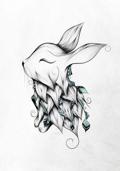 Cute bunny tat … Cute lapin tat Plus Art Drawings Sketches, Animal Drawings, Cute Drawings, Bunny Tattoos, Rabbit Tattoos, Rabbit Art, Pencil Art, Doodle Art, Amazing Art