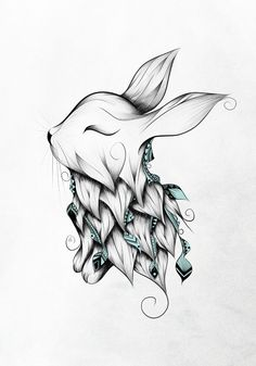 Poetic Rabbit Art Print #art #artprint #loujah #society6 #rabbit #doodle #bohochic #boho #illustration #turquoise #draw #drawing #dessin #gypsy #hippy #tattoo