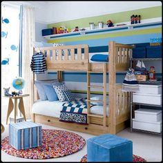 Charming and Colorful Shared Bedroom for Tween with Bunk Bed and Colorful Wall Paint and Cube Chairs