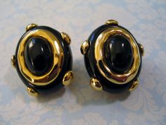 "Designer Carolee Earrings Big Bold Black Enamel Goldplated Clip-on 1 1/4"" #Carolee #Cluster"