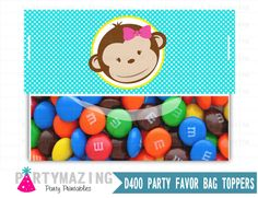 New from Partymazing on Etsy: Little Monkey Bag Toppers Treat Bag Tags Printable PDF Printable Party Favor Bag Topper Instant download Girl Monkey Collection D400 (5.00 USD) For more @partymazing