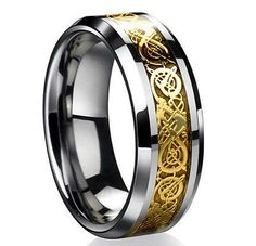 8MM Gold Celtic Dragon Tungsten Carbide Ring Men Jewelry Wedding Band SZ 6-13