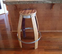 reclaimed wine barrel stool