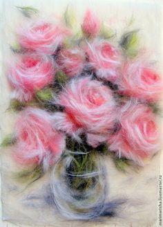 Картины цветов ручной работы. Ярмарка Мастеров - ручная работа. Купить Картина из шерсти Признание в любви. Handmade. Бледно-розовый