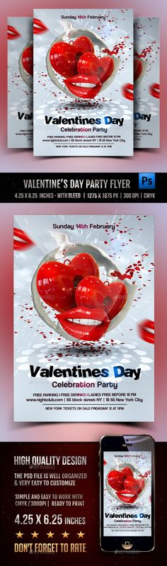 Valentines Day Celebration Flyer Template PSD #design Download: http://graphicriver.net/item/valentines-day-celebration/14348785?ref=ksioks