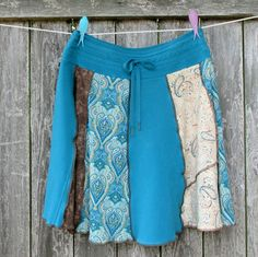 RESERVED Recycled Skirt Drawstring Cotton Teal Brown Upcycled Skirt Paisley Comfort ECO Skirt Summer Boho by ThankfulRose on Etsy