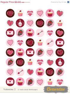 35 off sale Valentine bottle cap images by ClementineDigitals