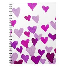 Valentines Day Watercolor Hearts  purple Notebook - girlfriend love couple gift idea unique cool