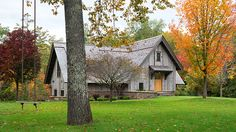 This rustic bunkhouse getaway built by John Kraemer & Sons acts as a playful companion to a main cabin, located in Northern Wisconsin. Built In Bunkbeds, Sycamore Farms, A Frame Cabin, Cabins And Cottages, Rustic Barn, Wisconsin, Beautiful Homes, Architecture Design, Bunkhouse